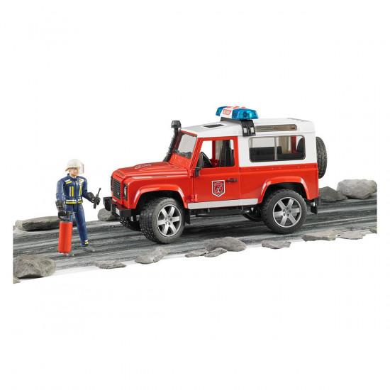 Bruder gasilski avto z voznikom Land Rover defenders