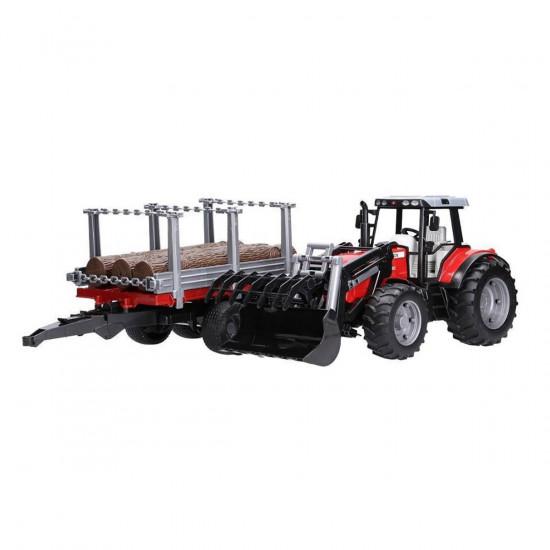 Bruder gozdarski traktor Massey Ferguson 7480 s prikolico in hlodi
