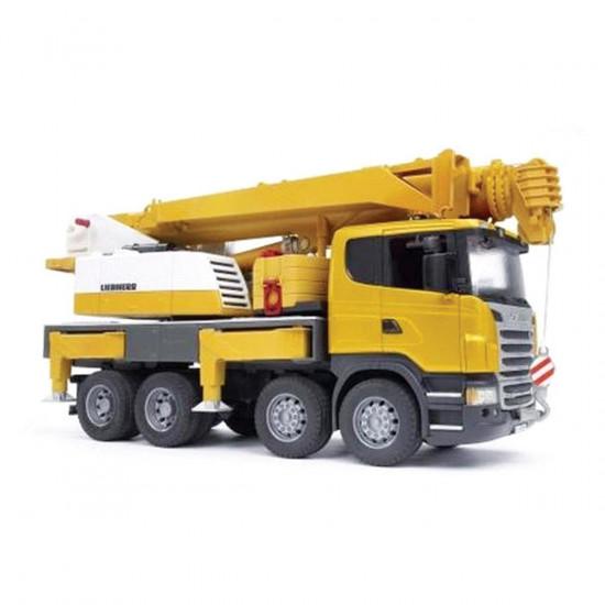 Bruder delovno vozilo Scania - dvigalo Liebherr (luč in zvok)