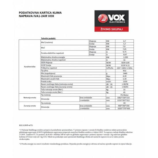 VOX klimatska naprava IVA1-24IR