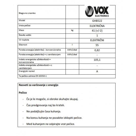 VOX kombinirani štedilnik GHB 522 (2x elektrika, 2x plin)