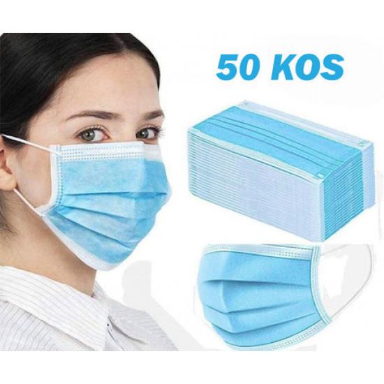 Zaščitna maska Purely DISPOSABLE FACE FLAT MASK 3-slojna EN 149:2001+A1:2009 50 kos