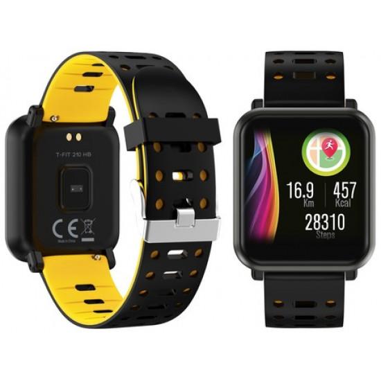 TREVI Športna ura/zapestnica T-FIT 210 Bluetooth srčni utrip pritisk kisik športne aktivnosti klici/SMS/socialna omrežja črna/rumena