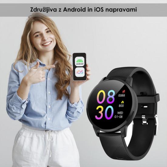 TREVI Športna ura/zapestnica T-FIT 220 Bluetooth srčni utrip pritisk kisik športne aktivnosti klici/SMS/socialna omrežja črna