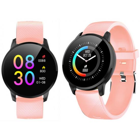 TREVI Športna ura/zapestnica T-FIT 220 Bluetooth srčni utrip pritisk kisik športne aktivnosti klici/SMS/socialna omrežja roza
