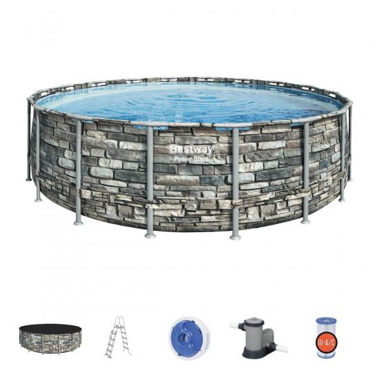 Bazen Bestway Power Steel 549x132 cm z vzorcem kamna s kartušno filtrsko črpalko