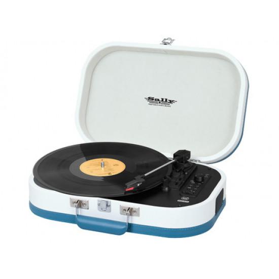 TREVI TT 1020 SALLY BT Prenosni gramofon s tehnologijo Bluetooth, USB, AUX-IN, RCA, belo-turkizen