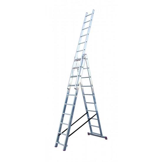 Trodelna aluminijasta lestev 3x10 stopnic