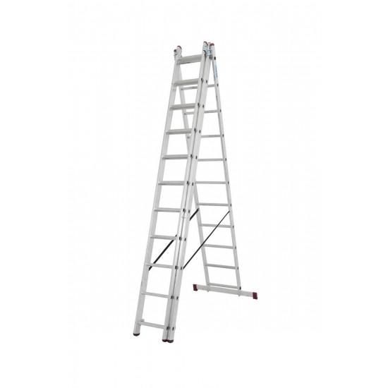 Trodelna aluminijasta lestev 3x11 stopnic