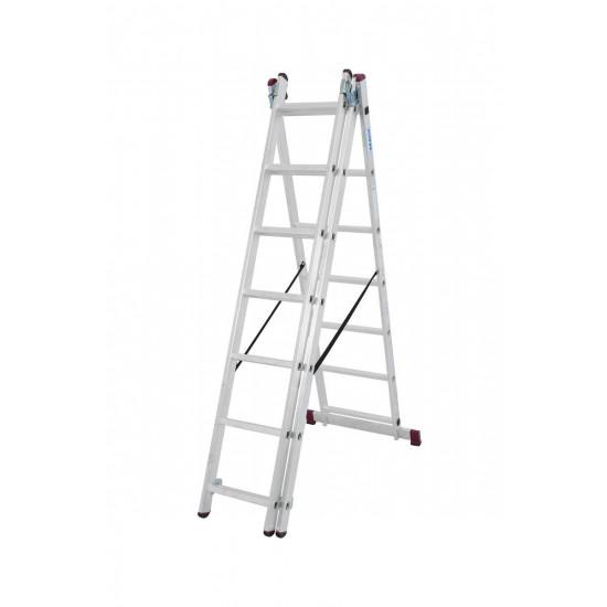 Trodelna aluminijasta lestev 3x7 stopnic