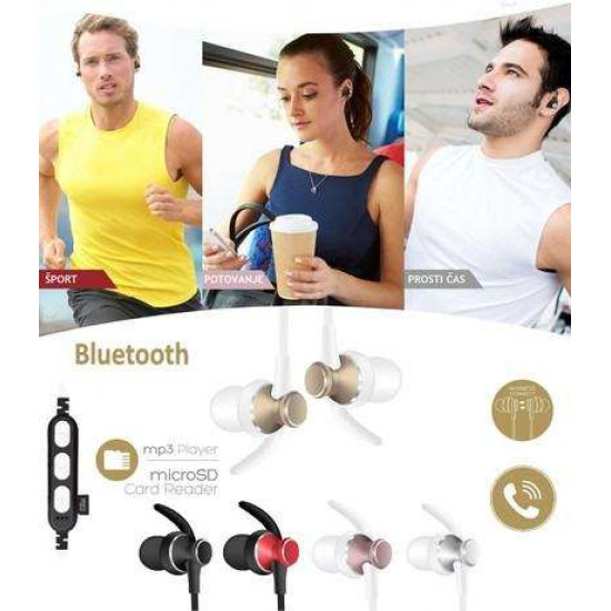PLATINET IN-EAR Bluetooth športne slušalke + mikrofon + microSD zlate